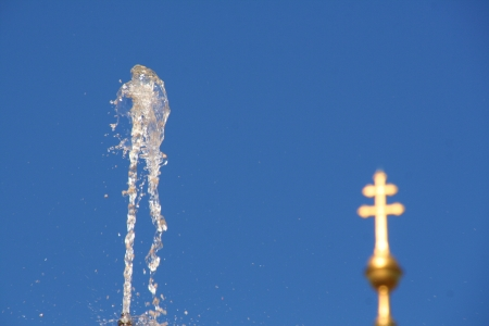 Water fountain and cross photo