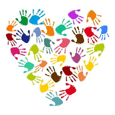 Handabdrücke in Form eines Herzens