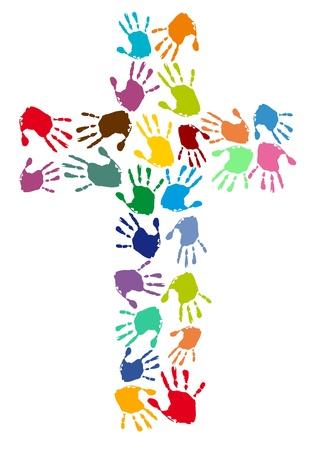 cruz roja: huellas de las manos de colores en una cruz
