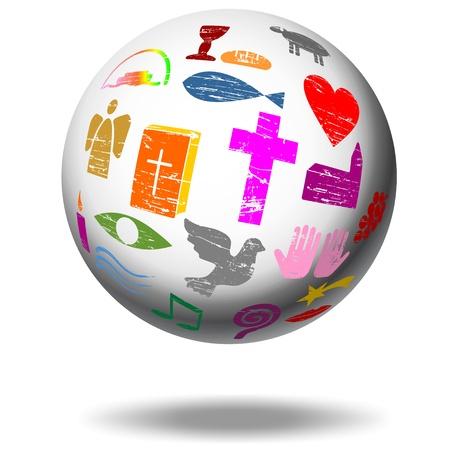 Christian Schild auf einem Globus Standard-Bild - 21618526