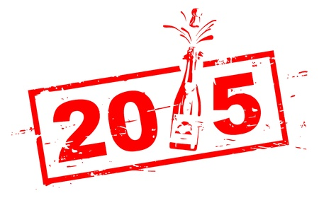 2015 red stamp with champagne bottle Stock Photo