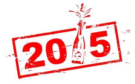 2015 roten Stempel mit Champagner-Flasche