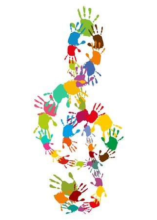 child singing: Clef, treble clef with colorful handprints