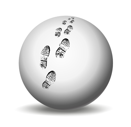 walking shoes: footprints on a white ball