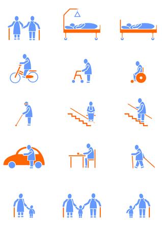 ni�os discapacitados: conjunto de iconos con las personas mayores Vectores