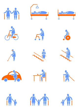 disabled sports: icon set with seniors