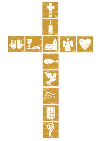 cruz de jesus: cruz cristiana de oro con diversos símbolos Foto de archivo