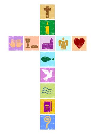 さまざまなシンボルとカラフルなキリスト教の十字