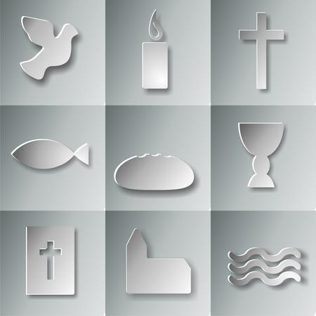 9 christelijke symbolen Stockfoto