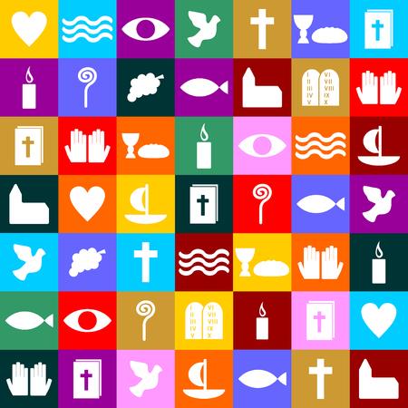 christian candle: colorful christian symbols  Illustration
