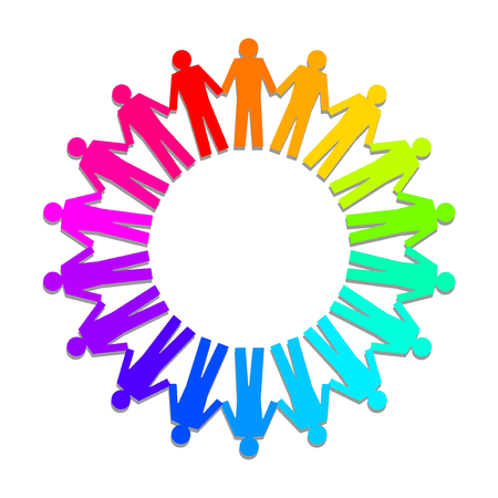 team hands: colorful people as an circle Illustration