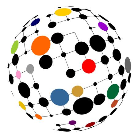 カラフルなポイントがあるネットワークの球