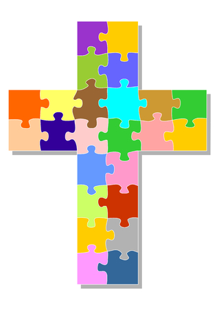 cruz roja: cruz colorida como un rompecabezas