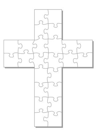 Weißen Kreuz als Puzzle Standard-Bild - 30679591