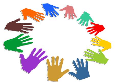 manos de colores formando un círculo