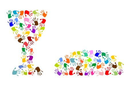 Cena lats fatto di impronte di mani colorate Archivio Fotografico - 43549397