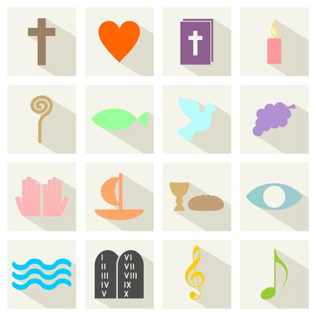 catholic: colorful christian symbols Illustration