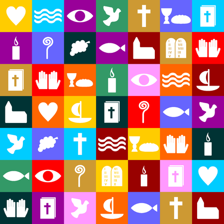 christian prayer: colorful Christian symbols