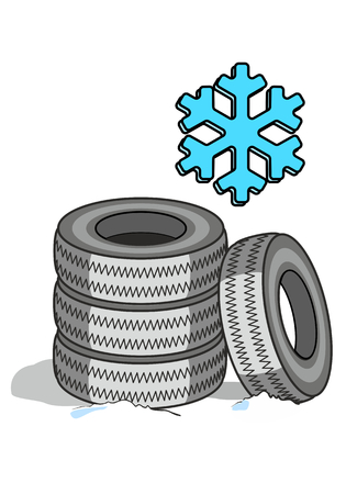 winterbanden en sneeuwvlok Stock Illustratie
