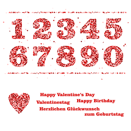 numbers and red hearts