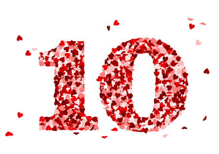 10 and red heart confetti Vectores