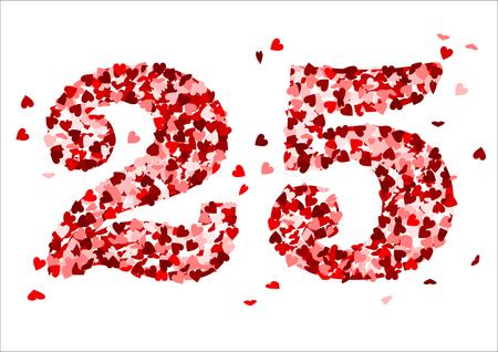 25 y confeti rojos del corazón