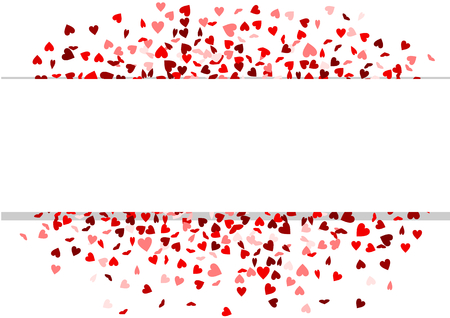 Red hearts confetti with white banner