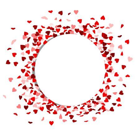 Weißer Kreis mit roten Herzen im Hintergrund Standard-Bild - 52811693