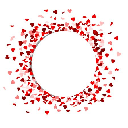 white circle with red hearts in the background Ilustração