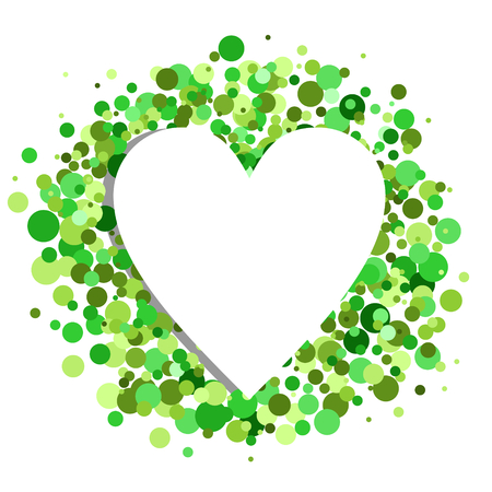 white heart with green points in the background Ilustração