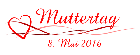 mothers day as at banner with red heart on