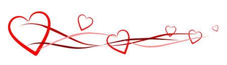 banner with red hearts Ilustração
