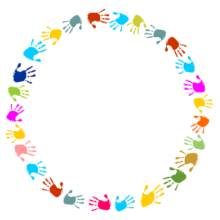 round frame made of colorful handprints