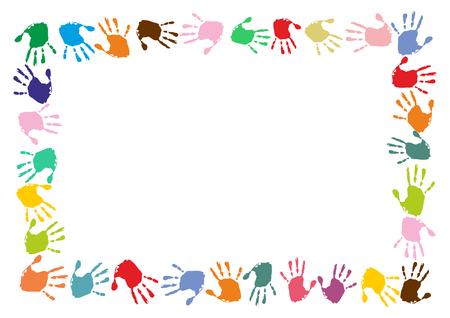 rectangular frame made of colorful handprints