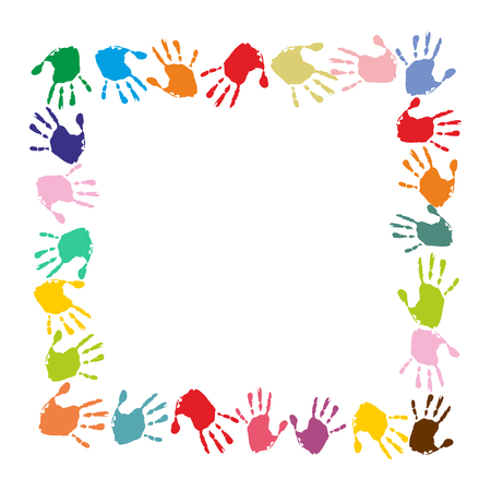 handprints: quadratic frame made of colorful handprints Illustration