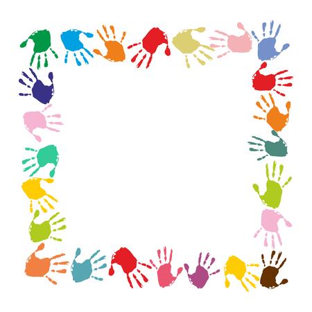 quadratic frame made of colorful handprints Illustration