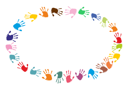humane: oval frame made of colorful handprints