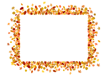 rectangular border made of autumnal leaves
