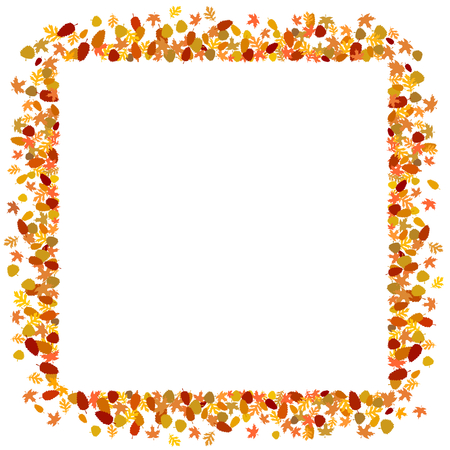 autumnal: square border made of autumnal leaves