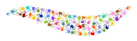 wave made of colorful handprints Ilustração