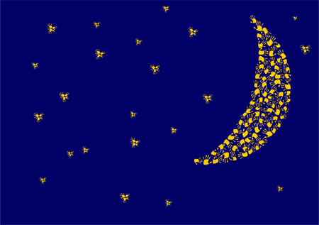 handprints: night sky with moon and stars made of handprints