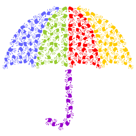 Regenschirm aus bunten Handabdrücken Standard-Bild - 64150841
