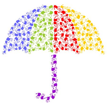 handprints: umbrella made of colorful handprints
