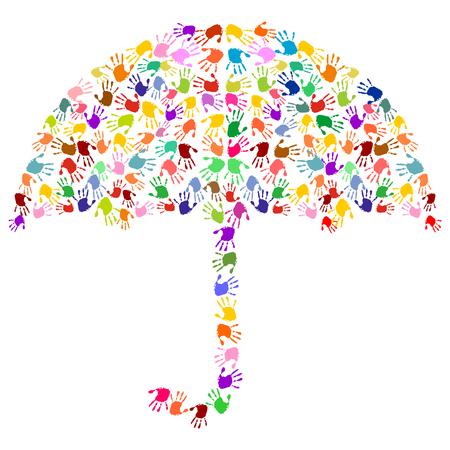 Regenschirm aus bunten Handabdrücken Standard-Bild - 64150842