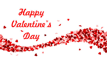 Happy Valentines Day with red hearts wave Ilustração