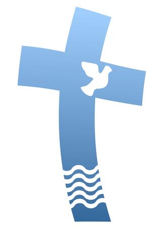 Blue christian cross with dove and water Ilustração