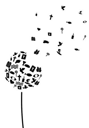 dandelion made of christian symbols