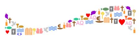 Wave made of colorful christian symbols. Ilustração