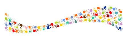 Wave made od colorful hand-prints.  イラスト・ベクター素材