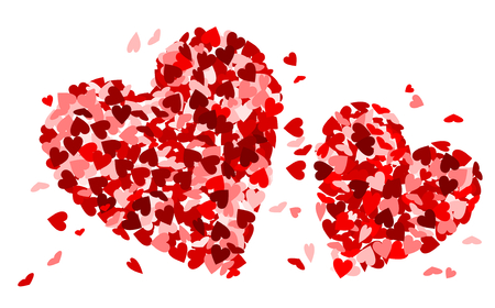 Two red hearts made of red hearts Ilustração